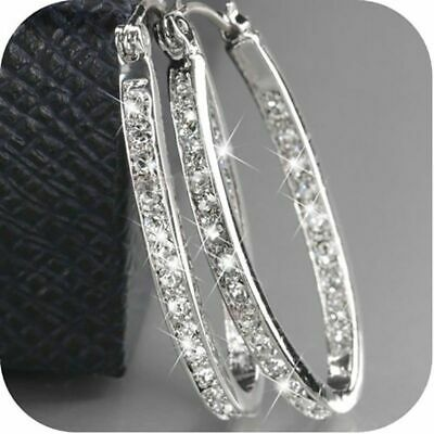 Boho 925 Silver Cubic Zirconia Wedding Engagement Hoop Earrings Party Jewelry