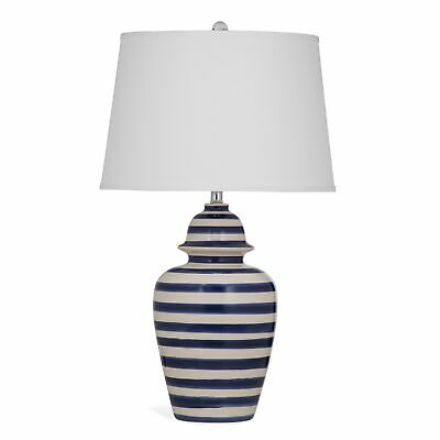 WHITE Striped Ceramic 18 BLUE Lamp233 DAVIS Table sxtQChrBod