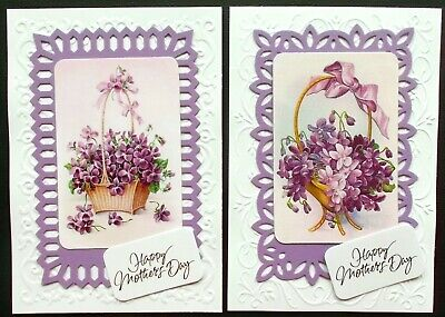 Mother's Day Purple & White Topper Pack X 2 With Vintage Violets And Sentiments