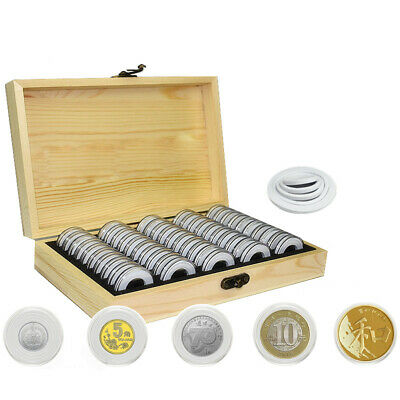 50pcs Wooden Round Coin Case Holder Capsules Storage Container Box Display