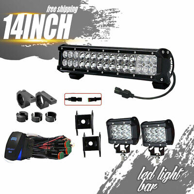 "14inch LED Work Light Bar Spot Flood+2x 4""Pods For Jeep ATV SUV Driving Offroad"