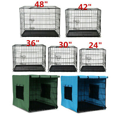 "2 Doors 24"" 30"" 36"" Dog Cat Pet Cage Playpen Collapsible Metal Crate With Tray"