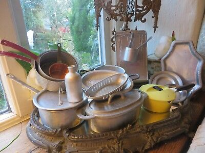 Charming Collection Of Vintage French Dolls Kitchenalia~ Period Display/ Prop