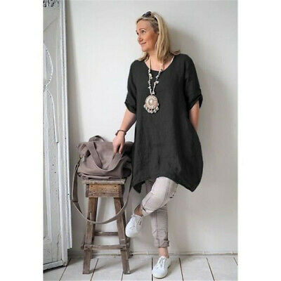 Women Cotton Linen Summer Crew Neck Irregular Hem Casual Loose Beach Dress LG