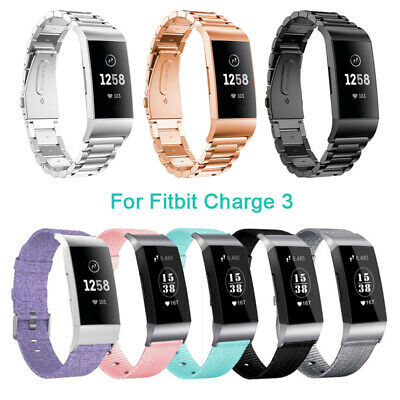 Replacement Strap For Fitbit Charge 3 Watch Stainless Steel/Canvas Band Bracelet