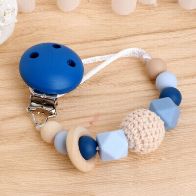 Newborn Pacifier Clips Silicone Beads Soother Nipple Teething Baby Shower Gift B