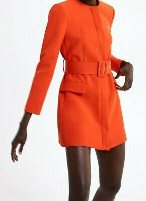 d05111ef Zara Woman Flap Pockets Belted Frock Coat Buckle Belt Coral 2217/349 New  Ss19