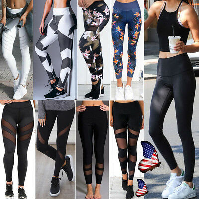Women Yoga Pants Fitness Leggings Workout Activewear Exercise Sports Trouser A98