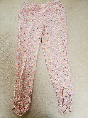 girls peach & pink floral trousers NEXT age 10 *excellent condition*