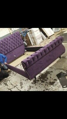 🌟Luxury Chesterfield Crushed Velvet Sleigh Bed Any Size Free Delivery