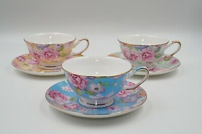 Fine Bone China Tea Cup & Saucer Set Gold Trim Floral Afternoon Tea Fine Dining