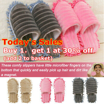 A pair Mop Slippers Lazy Floor Foot Socks Shoes Quick Polishing Cleaning Dust RS