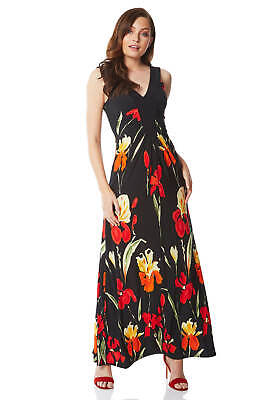 Roman Originals Women Floral Contrast Band Maxi Dress