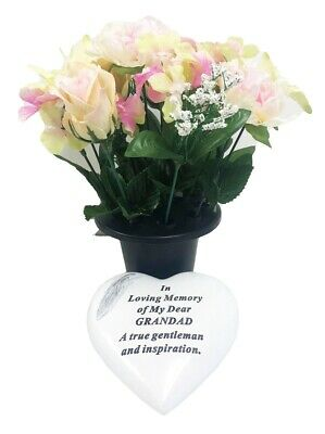 Grave Ornaments Grandad Flower Pot Loving Memory Stone Graveside Memorial Plaque