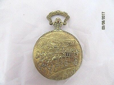 Pocket Watch Gold Plated Stage coach Scene Decorated Case Quartz  Working Order