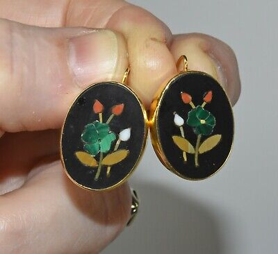 Antique Vintage Floral Pietra Dura Micro Mosaic 14K Gold Drop Pierced Earrings
