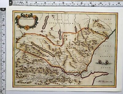 HISTORIC ANTIQUE VINTAGE Old Map: Southeast Sutherland, Scotland 1600s  REPRINT