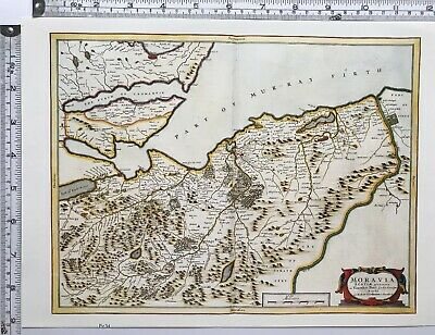 Nairn Scotland Map.Historic Antique Vintage Old Map Moray Firth Nairn Scotland 1600s