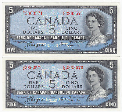 Lot of 2 Consecutive 1954 Bank of Canada $5 Devil's Face Notes