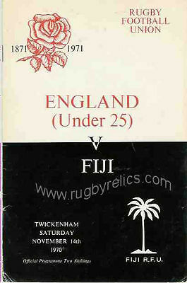 FIJI 1970 RUGBY TOUR PROGRAMME v ENGLAND UNDER 25 on 14th November at Twickenham