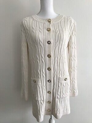 a141ab8668 ST JOHN SPORT Womens Sz M Off White Cable Knit Wool Mix Cardigan Sweater  Pockets