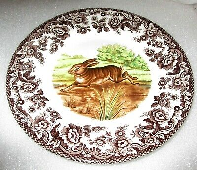 "Spode Woodland Brown Rabbit Porcelain Salad Plate Made in England 8"" New"