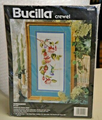 "Bucilla crewel 40590 Hummingbirds, 8"" x 11"", NEW! 1991 Made in USA."