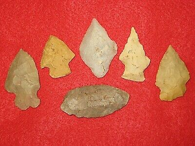 Authentic Native American artifact arrowhead 6) Arkansas points BN122