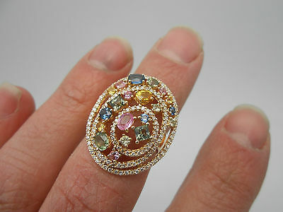 Stunning 14k Gold Natural Colored Sapphire & Diamond Cluster Cocktail Ring Sz 8
