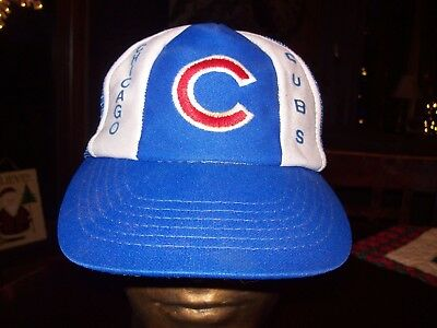 debc1e534f8 Vintage Chicago Cubs Snapback Hat MLB Mesh Truckers Cap Spell out Stitch  80s 90s