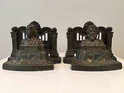Vintage Arts & Crafts Judd Verdigris Bookends  Shakespeare & Longfellow  C1910s