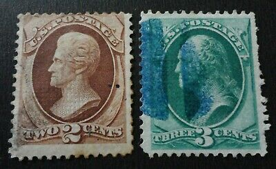 Scott #135-136 Used 1870 Grilled Banknote Stamps  Cv $107.50