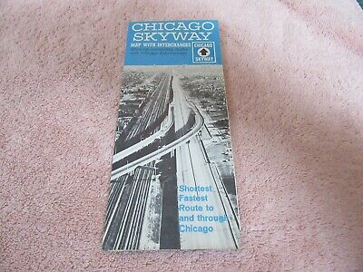 VINTAGE ROAD MAP 1960's chicago Skyway Expressway Nice! Lot 19-1-C-A