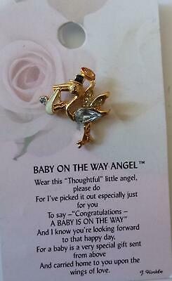 It's a Boy Angel or Baby On The Way Thoughtful Little Angel Pin on Card Pick One