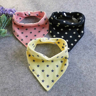 Kids Unisex Burp Cloths Triangle Bibs Infant Bandana Bibs Cotton Stars Popular