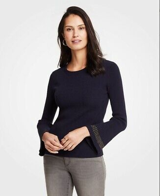 NWT Ann Taylor Colorblock Fluted Sleeve Boatneck Sweater   $89.50 Black   NEW