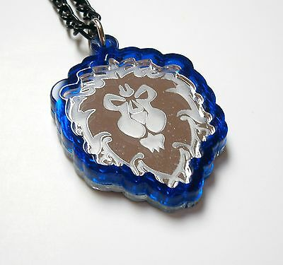 World of Warcraft Lion Necklace, Laser Cut , Blue and Mirror Plastic