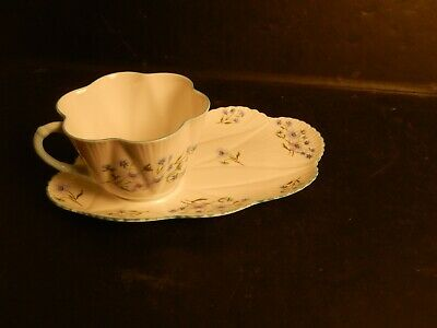 Vintage Shelley Bone China England Dainty Blue Rock Snack Plate & Cup
