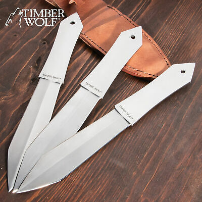 "11 3/4"" Timber Wolf Diamond FULL TANG STAINLESS STEEL THROWING KNVIES w/sheath"