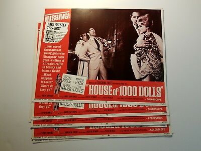 "1967 HOUSE OF 1000 DOLLS Lobby Card Set 11""x14"" Vincent Price PROSTITUTION CRIME"