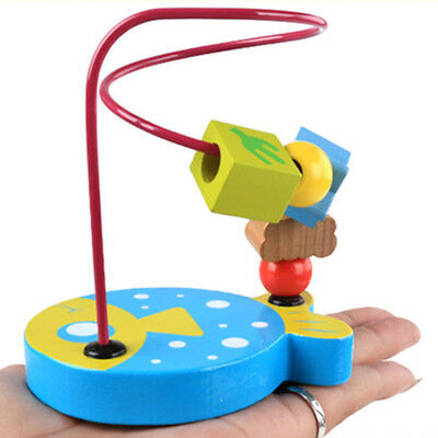 Kids Baby Children Colorful Wooden Around Beads Maze Educational Game Toys LG