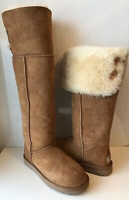 9ebfce3e0eb UGG OVER THE Knee Bailey Button Bomber Jacket Shearling Boots Size 5 ...