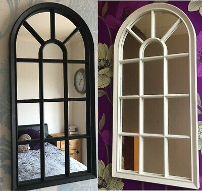 Window Style Arched Wall Hanging Mirror Glass Panel Shabby Vintage Hallway Decor