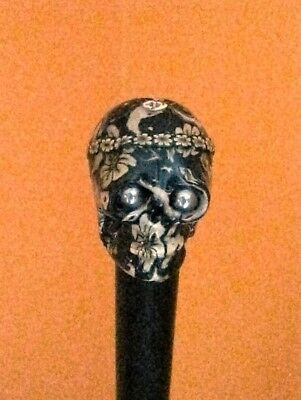 Novelty Skull Walking Stick/Cane with Psychedlic pattern and steel eyes