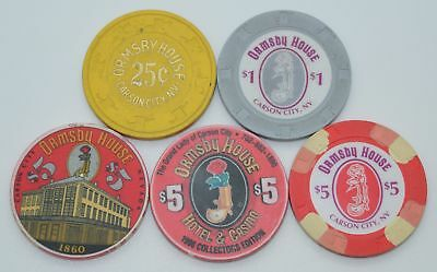 Set of 5 Ormsby House 25¢-$1-$5 Casino Chip Carson City NV H&C Paul-son/ChipCo.