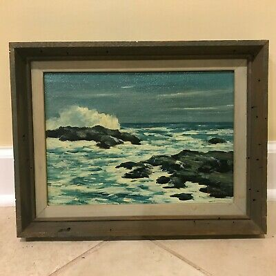Herbert Foerster Waves Crashing Rocky Coastal Seascape Oil on Canvas Painting