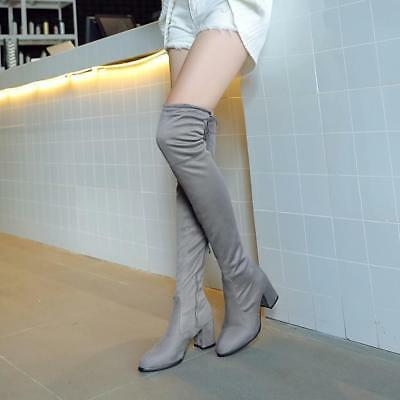 hot sale Womens Faux Suede Chunky Heels Side Zip slim Over Knee Thigh High Boots