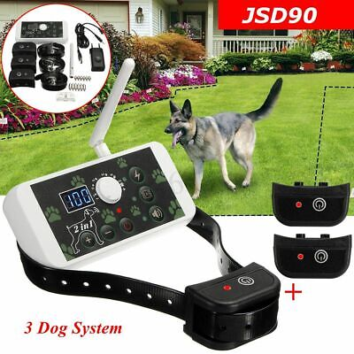 Wireless Electric 1-3 Dog Fence Containment System Waterproof Transmitter Collar