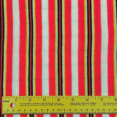 Bright Vintage Striped Fabric Pink Yellow Black White 2 Yds Vintage