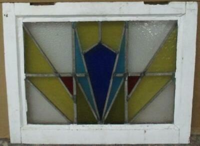 """OLD ENGLISH LEADED STAINED GLASS WINDOW Radiant Abstract 20.75"""" x 16.5"""""""